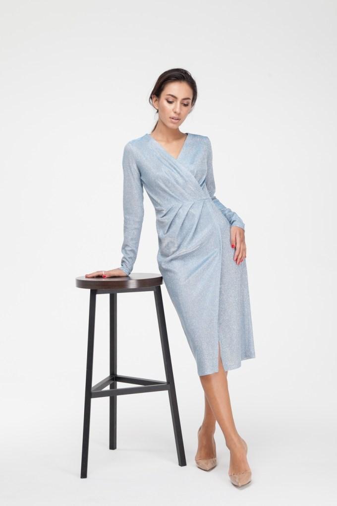 Платье миди с люрексом голубое - THE LACE