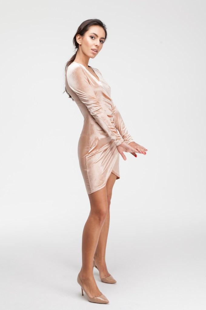 Платье мини из бархата золотое - THE LACE