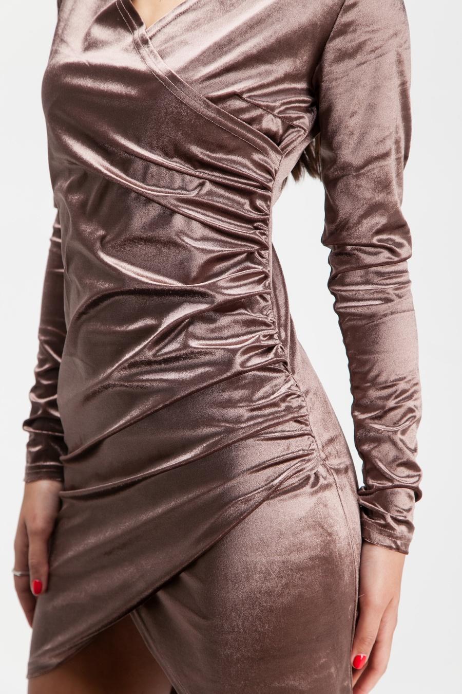 Платье мини из бархата капучино - THE LACE