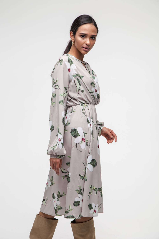 Платье миди бежевое Spring flowers - THE LACE