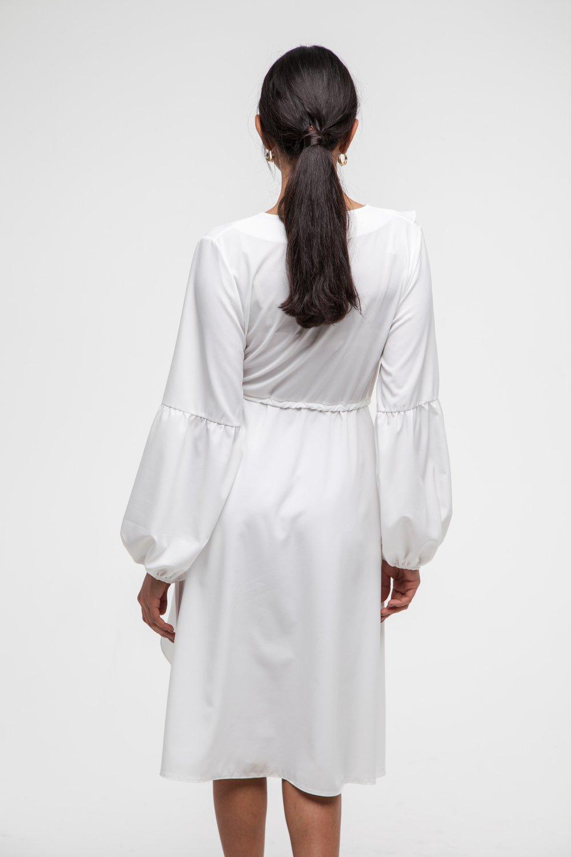 Платье миди с воланами молочное - THE LACE