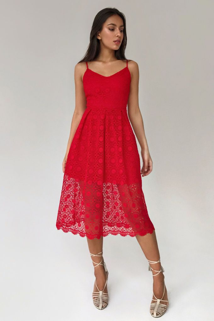 Dress red lace - THE LACE