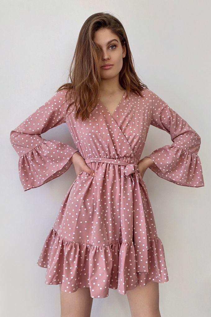Платье мини с воланами в горох розовое - THE LACE