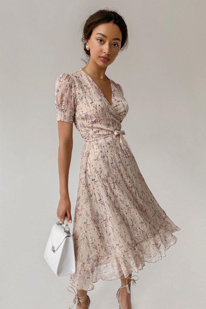 Платье на запах бежевое Vintage flowers - THE LACE