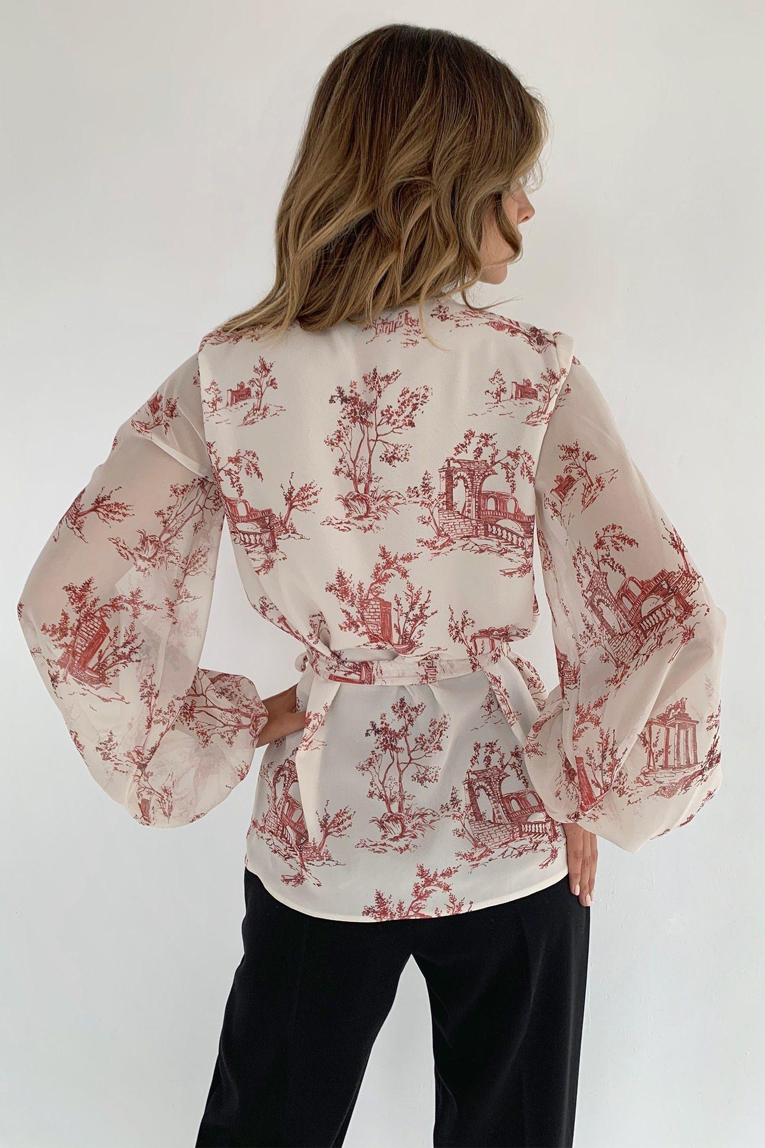 Блуза на запах Toile de Jouy красная - THE LACE