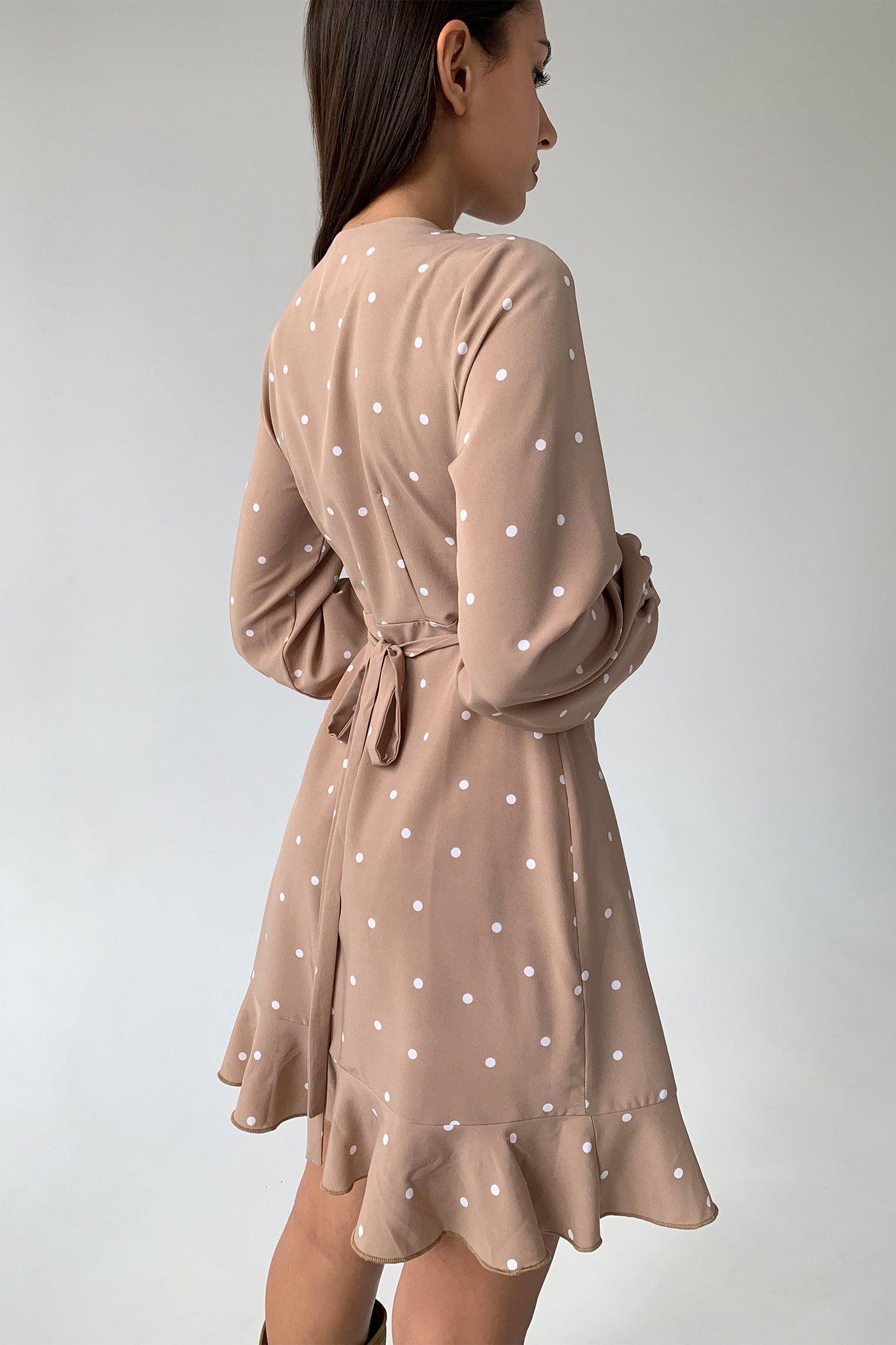Платье мини с воланами в горох бежевое - THE LACE