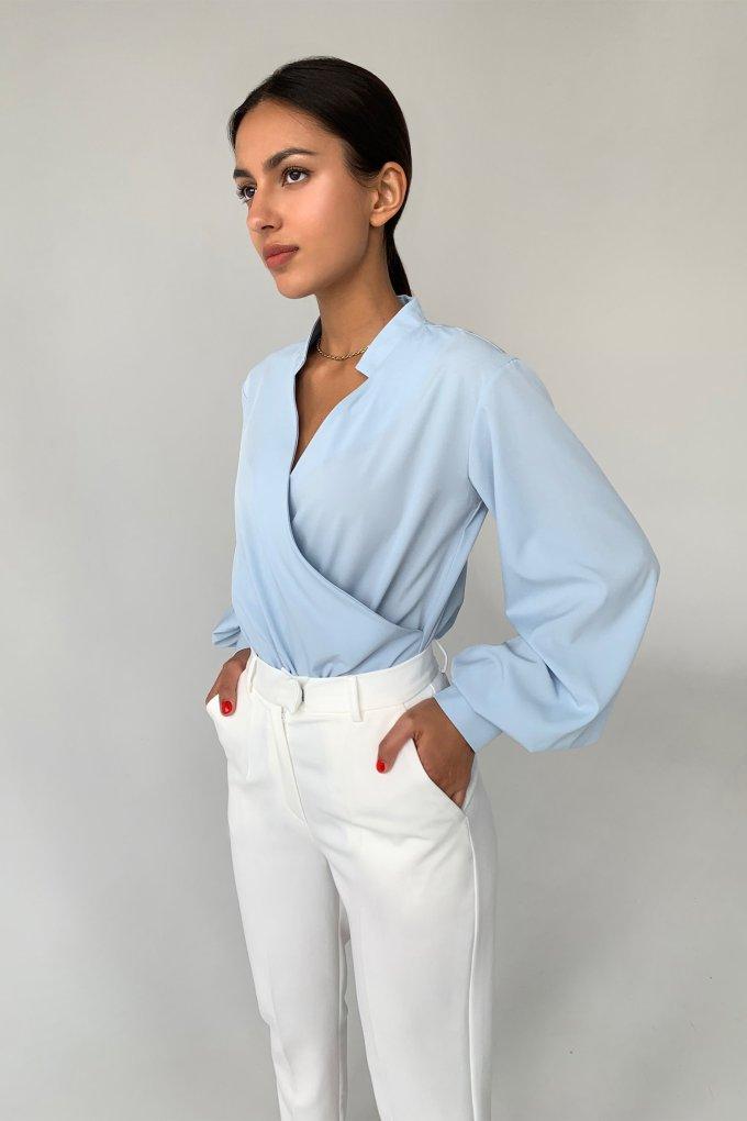 Блуза на запах голубая - THE LACE