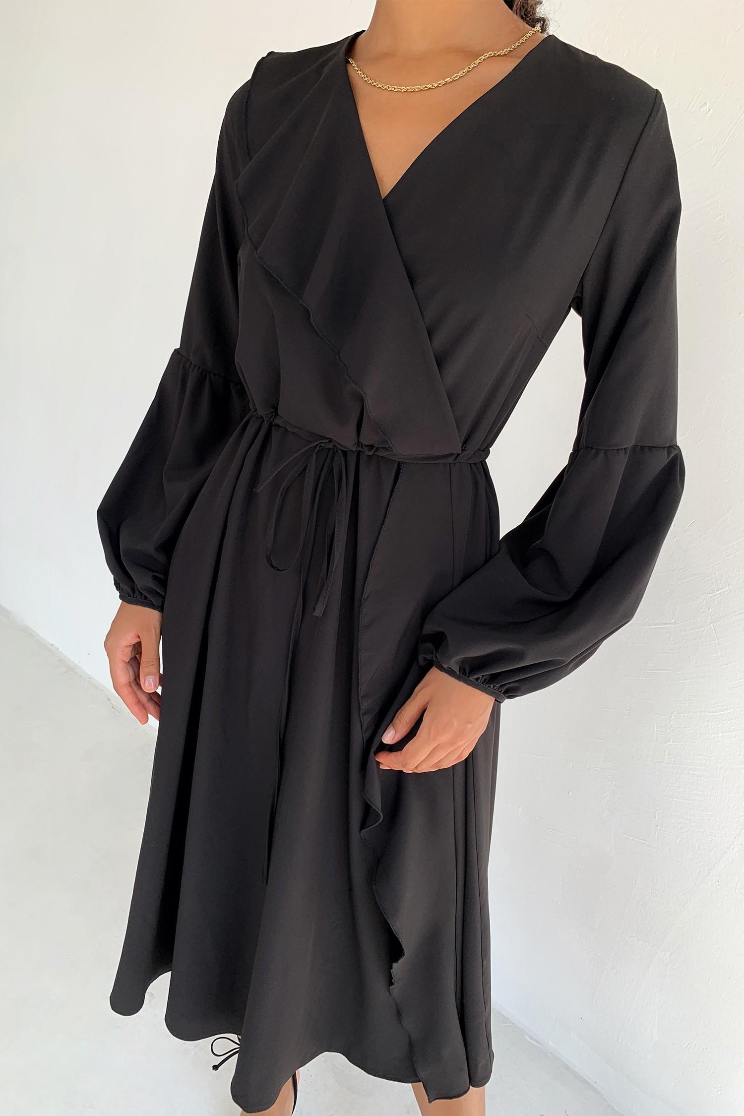 Платье миди с воланами черное - THE LACE