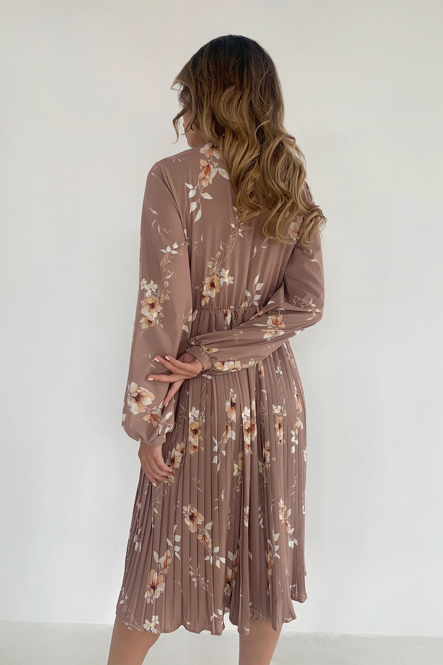 Платье миди с юбкой плиссе бежевое Evening bloom - THE LACE