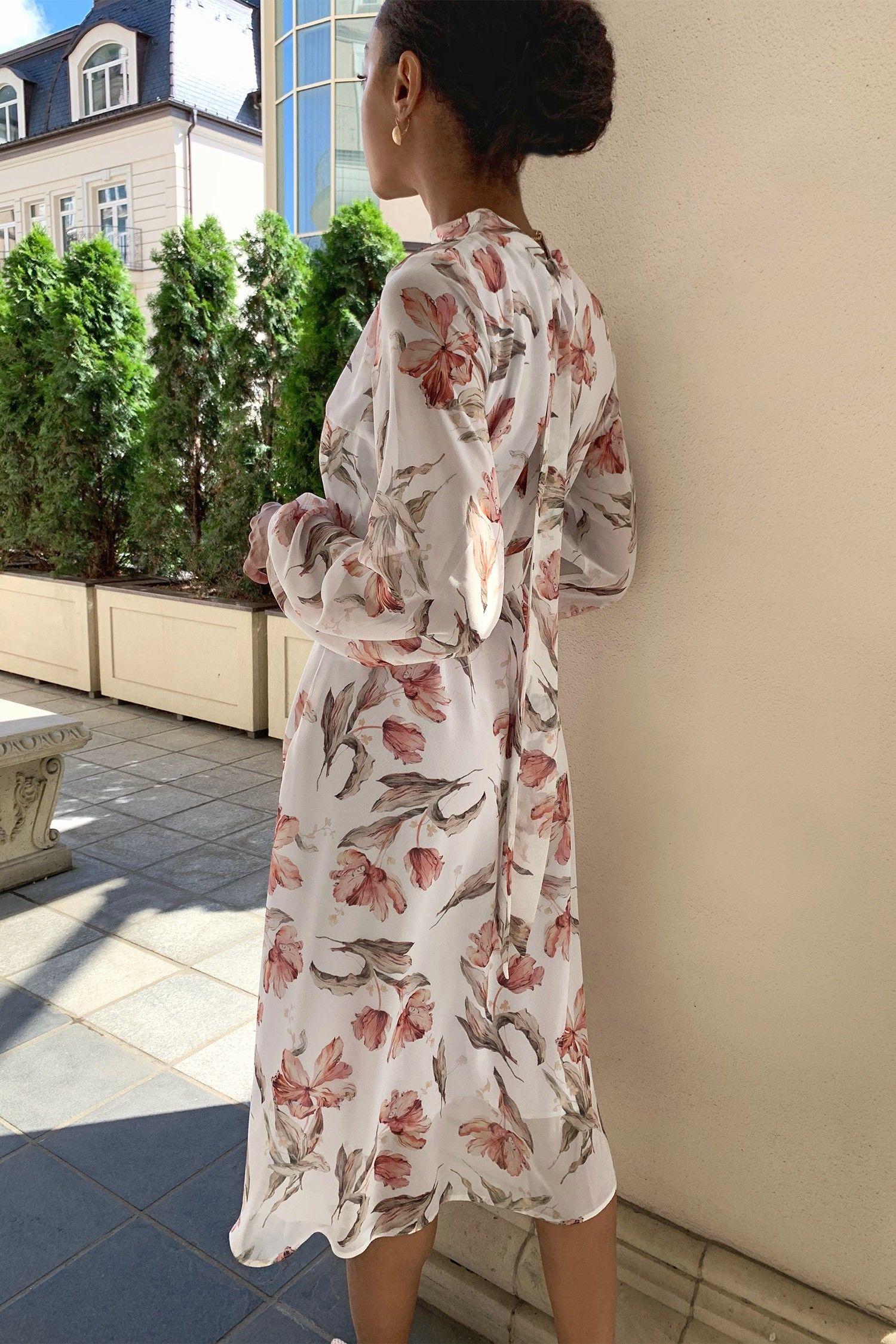 Платье миди с бантом белое Lovely tulips - THE LACE