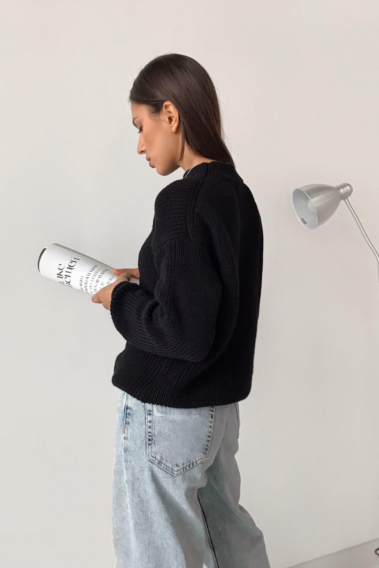Шерстяной свитер черный - THE LACE