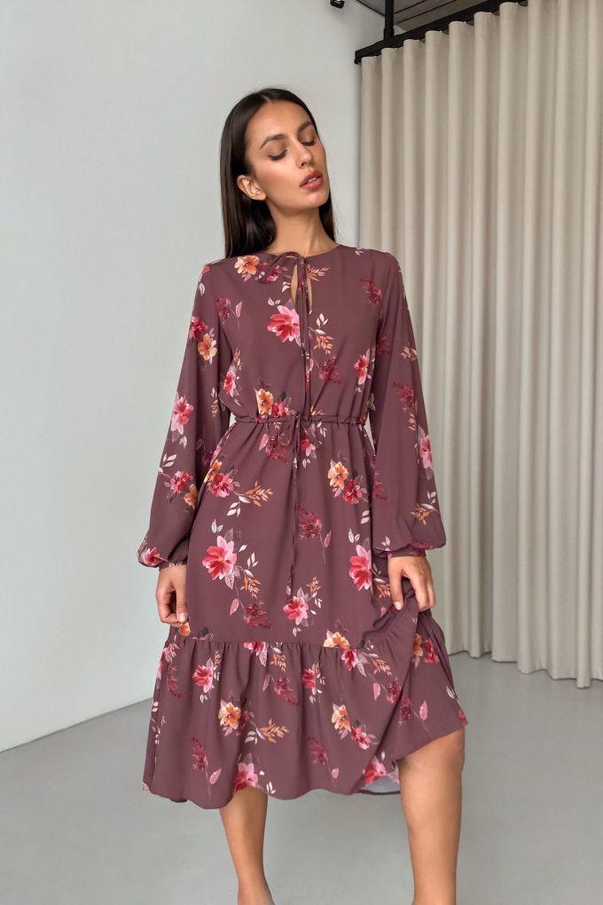 Платье миди шоколадное Autumn mood - THE LACE
