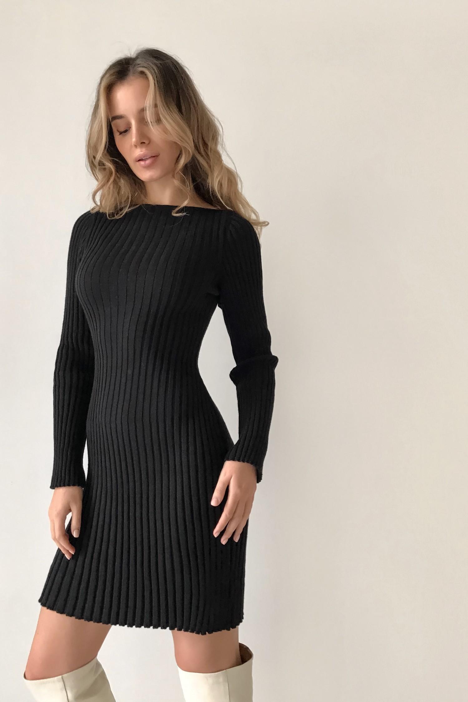 Трикотажное платье мини черное - THE LACE