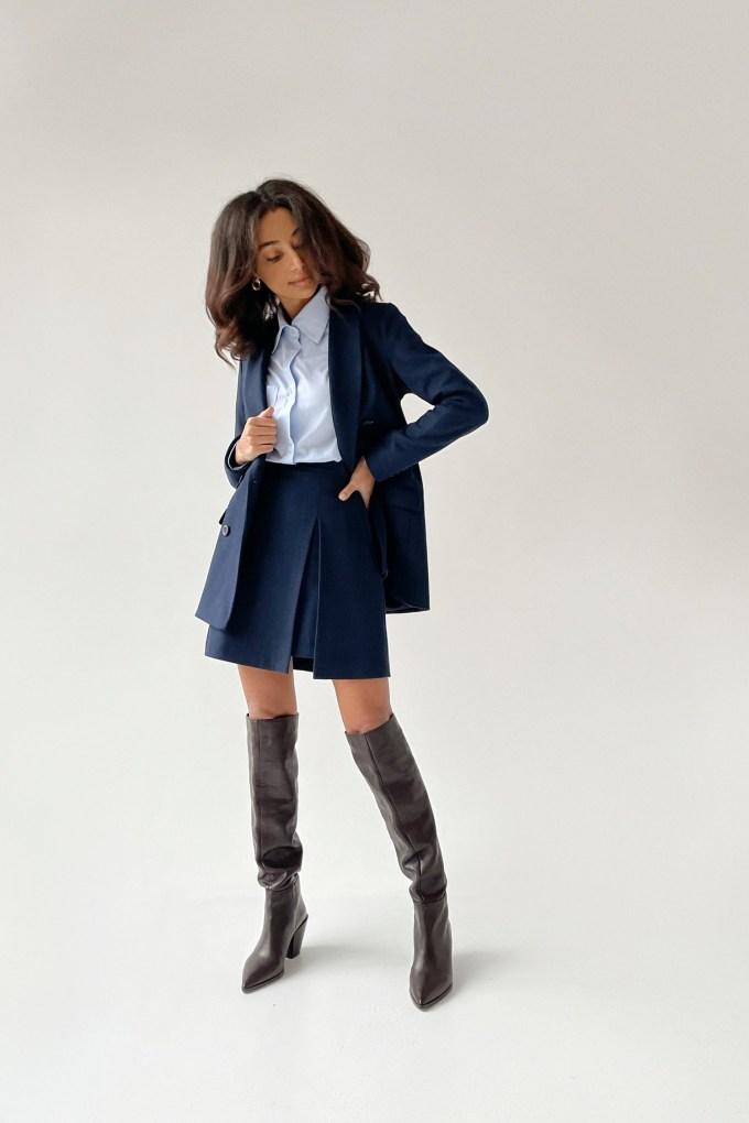 Шерстяной костюм с юбкой синий - THE LACE