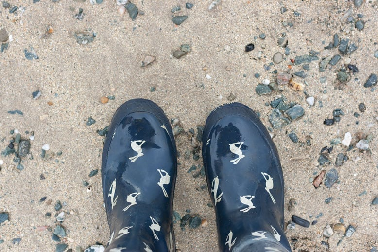 Wellies on the beach
