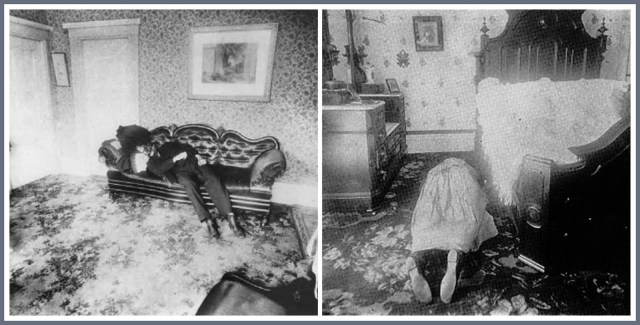 Lizzie Borden crime scene photos of Andrew and Abby Borden.