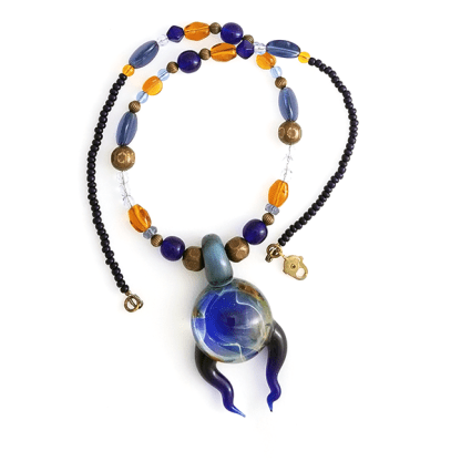 Dream in Blue and Amber necklace