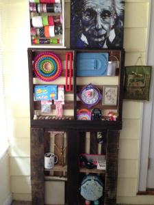 Stacked Pallet Shelf Craft Organizer!