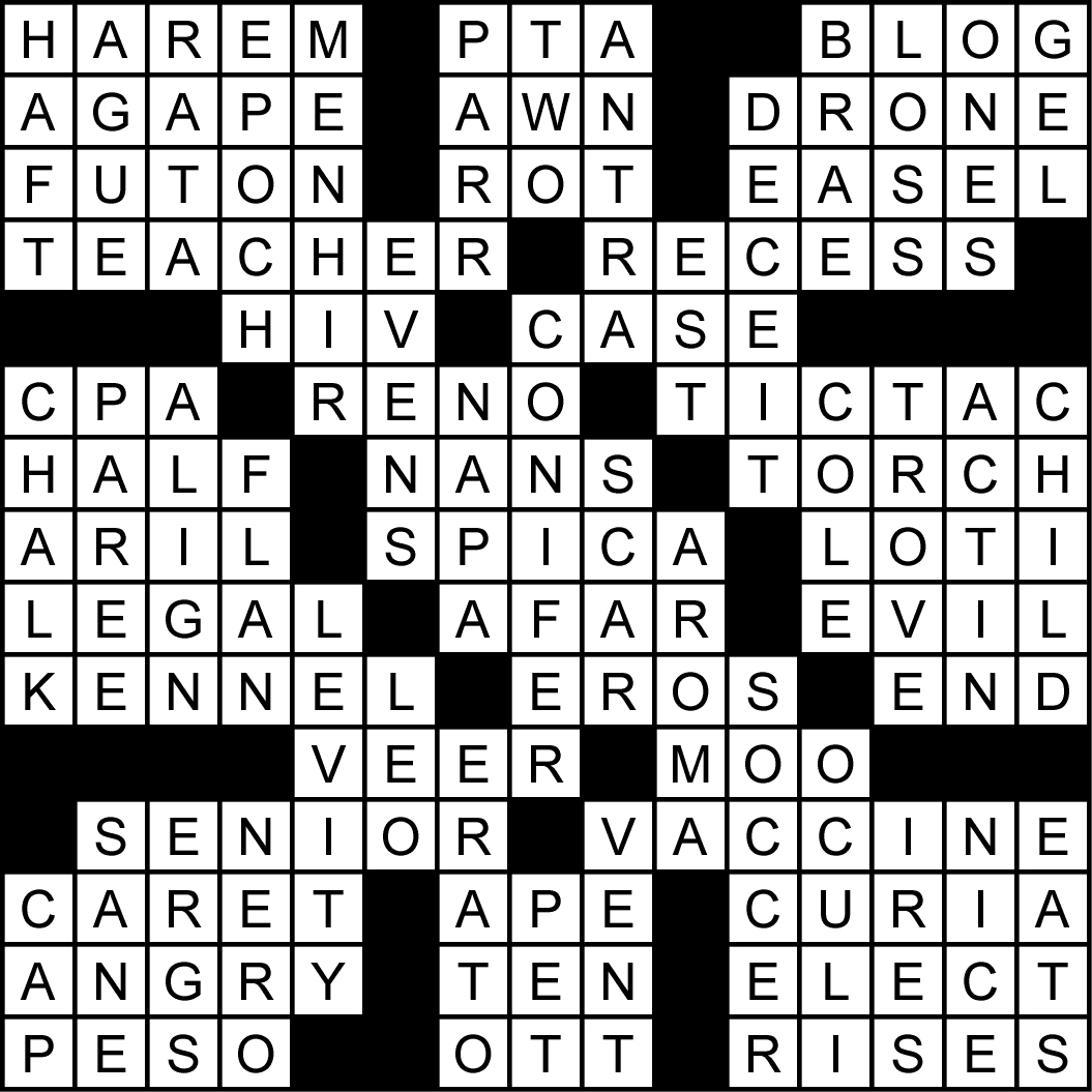 Back To School Crossword Puzzle Solution