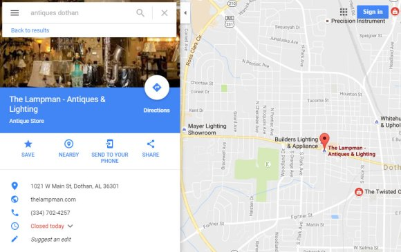 Google Map showing Antique Store locations