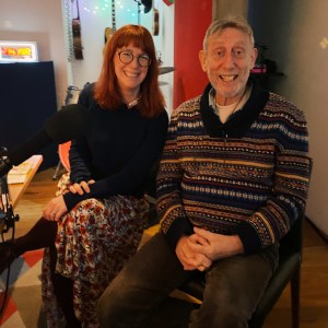 Cate Hamilton and Michael Rosen in recording studio
