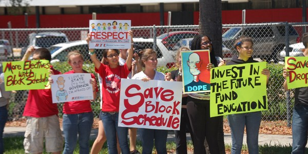 Teachers And Students Rally For Block Scheduling