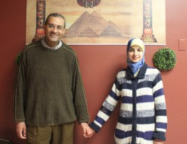 Amr Halem (left) and Hana Hamdoun take care to follow Shari'ah banking rules. Photo by Phoebe Yu