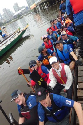 Dragon boaters ready to paddle. Photo courtesy of Amy Amantea, Vision Impossible Team