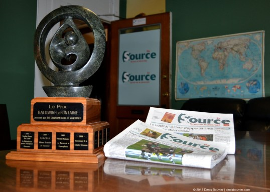 Baldwin-LaFontaine award will sit at the Source offices until February 2014. Photo by Denis Bouvier