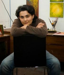 Artist NikNaz in studio. | Photo courtesy of NikNaz Kahamoui