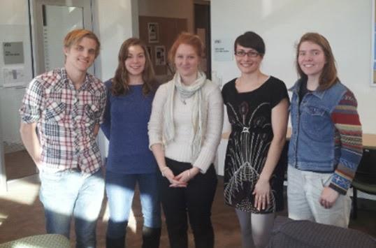 The UBC executive committee: (left to right) Matthew Root, Becky Epplett,  Kaitie Warren, Kelly Savage, Kelsey Ockert.|Photo by John Dingle