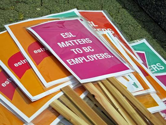 Signage from ESL Matters campaign. | Photo by Estefania Duran.