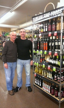 Marco and Fulvio Damiani with some of their products at the Heights Market. | Photo by Naomi Tse