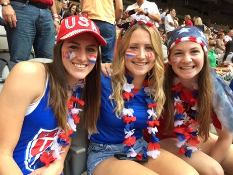 Team USA Fans: Stacey Atwater, Samantha Kephart and Elizabeth Rivas.| Photo by Alison Chiang.