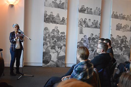 Renée Saklikar at SFU's Lunch Poems. | Photo courtesy of Renée Saklikar