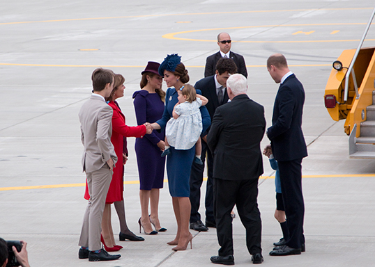 The Duke and Duchess of Cambridge are greeted by Premier Christy Clark and Prime Minister Justin Trudeau in Victoria. | Photo courtesy of the Province of B.C
