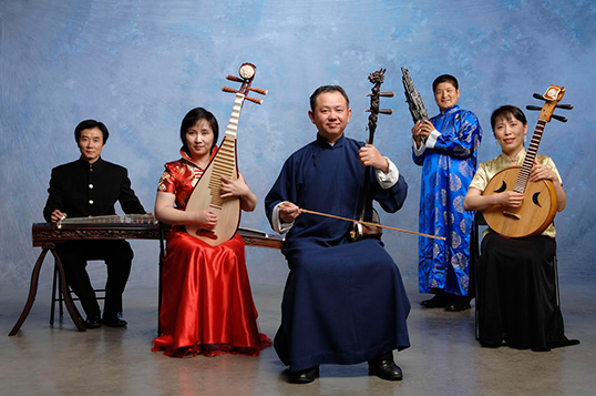 Jirong Huang (centre) and Vancouver Chinese Music Ensemble members.| Photo by David Cooper.