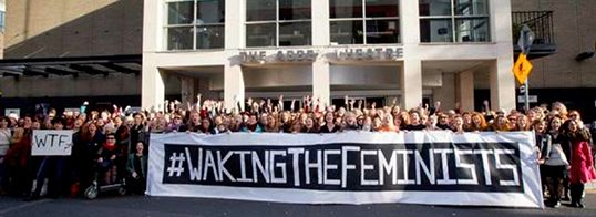 The first Waking the Feminists meeting outside The Abbey, Ireland's national theatre, in Nov. 2015 to protest The Abbey's male dominated 2016 programme. | Photo courtesy of Emer O'Toole