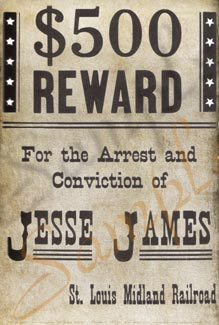 wanted poster 500 dollars Jesse James