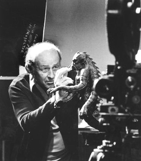 Ray Harryhausen with the Ymir