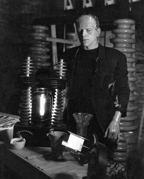 Boris as Frankenstein on the set