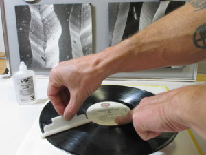 Cleaning a record with All-Purpose Record Cleaner