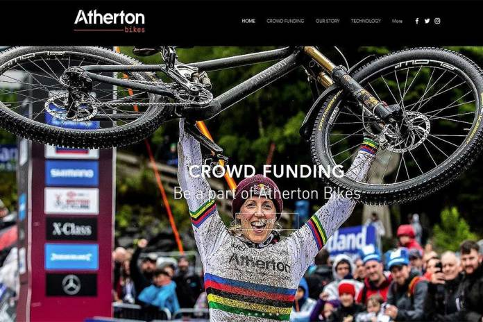 Rachel Atherton pictured on the Atherton Bikes website.