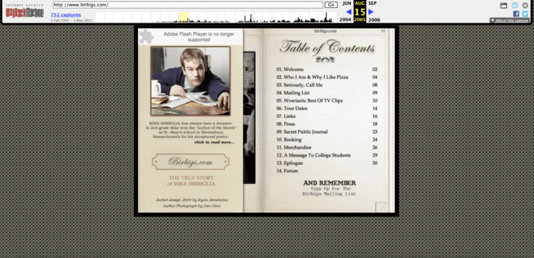 Birbigs.com table of contents