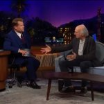 Larry David is thrown off by how James Corden's set is laid out