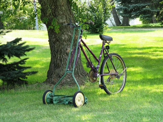 Bike Lawn Mower - Mowing