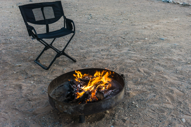 The custom-made firepit at Sossus Oasis.