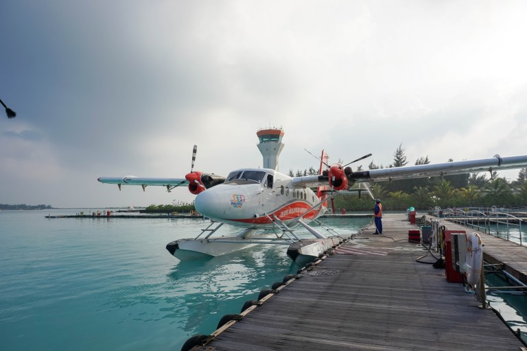 A typical floatplane in the Maldives.