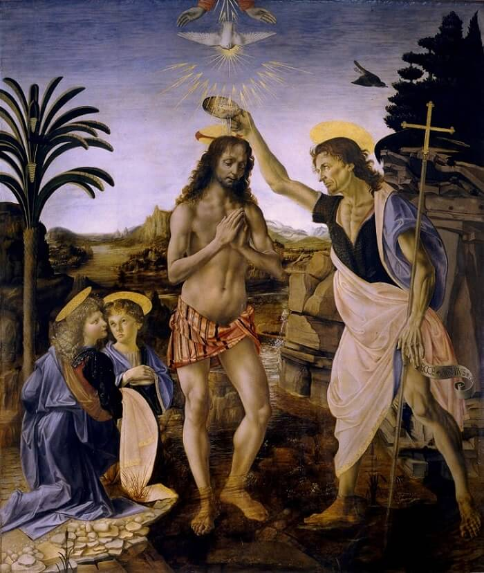 "The other painter behind da Vinci's ""The Baptism of Christ"""