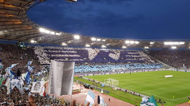 Fan choreography at the Stadio Olimpico